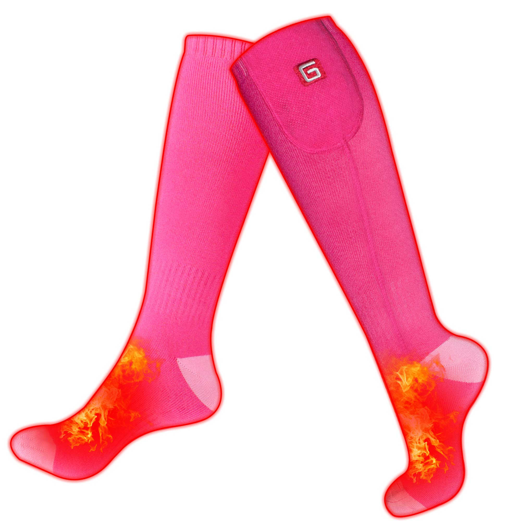 IFWATER Electric Heated Socks for Women Men, Rechargeable Electric Socks Battery Heated Socks Foot Warmer for Chronically Cold Foot, Skiing Hiking Warm Socks (Pink, M) by IFWATER