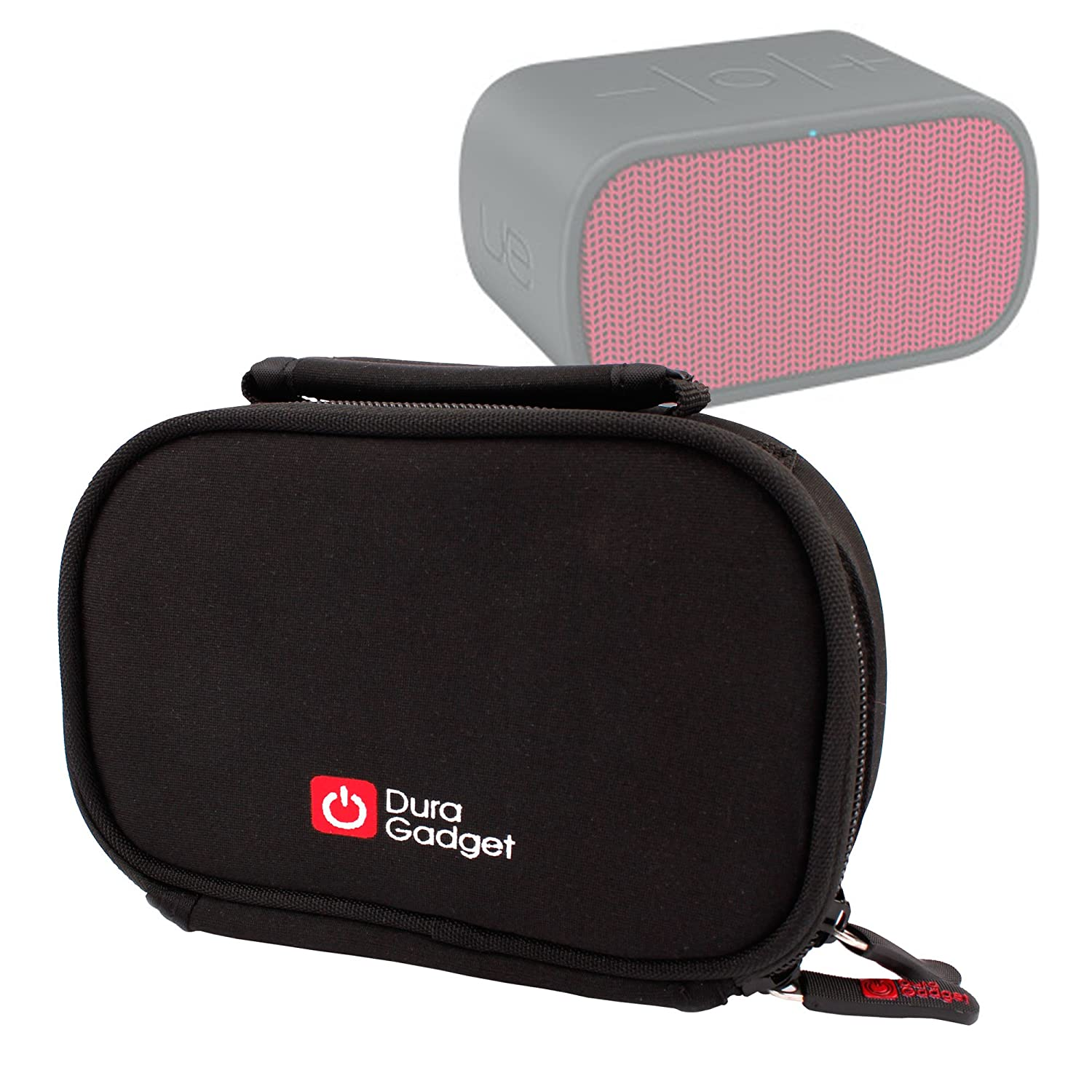 DURAGADGET Black Soft, Shock-Absorbing Neoprene Case / Carry Bag for Ultimate Ears Mini Boom Portable Speaker