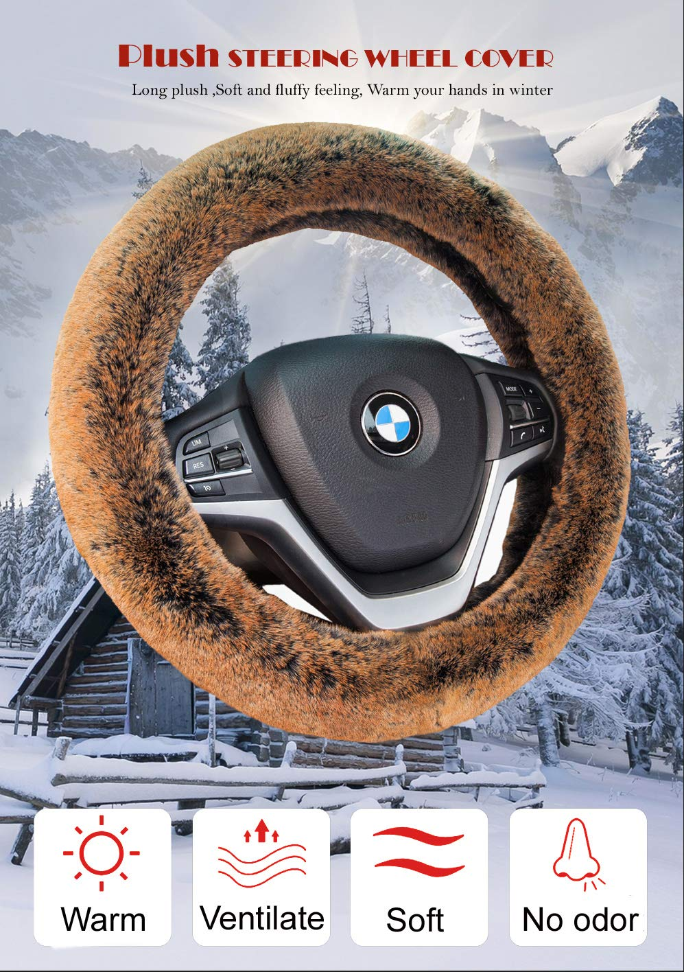 Steering Wheel CoverWinter Warm Faux Wool with Non Slip Rubber Inner Ring Universal15 Inch for Auto Car SUV (Long Plush, Brown)