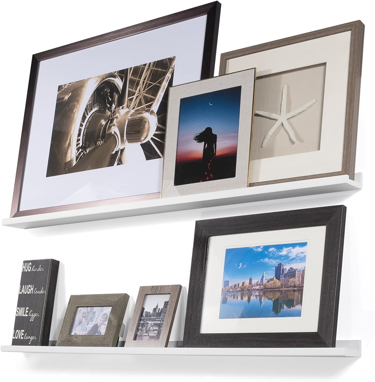 Wallniture Denver Modern Floating Wall Mounted Shelves - Pictures Ledge for Frames White 46 Inch Set of 2