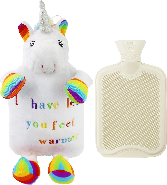Athoinsu Animal Rubber 2L Hot Water Bottle with Cute Pink Plush Unicorn Cover for Girls Women Children (Unicorn)