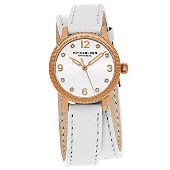 d03736fb6 Stuhrling Original Women's 646.03 Vogue Swiss Quartz Crystals Double Wrap  White Watch