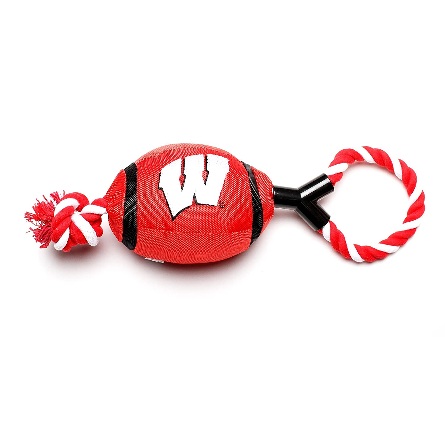 Pet Goods Wisconsin Badgers Football with Rope Toy