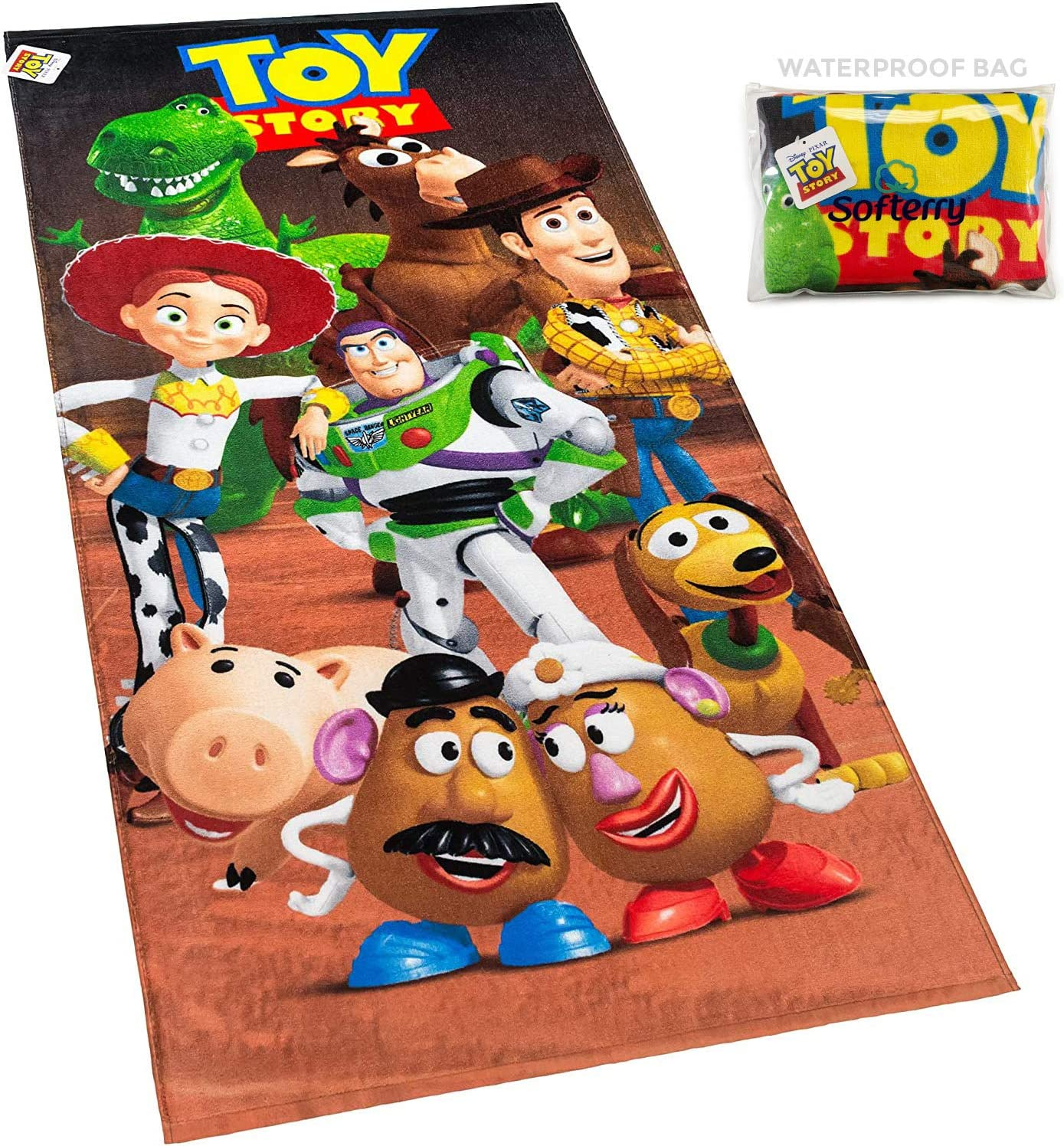 Toy Story Beach Towel Buzz, Woody, Potato Head, Slinky Dog 28 x 58 inches Printed 100% Cotton (Toy Story Gang + Bag)