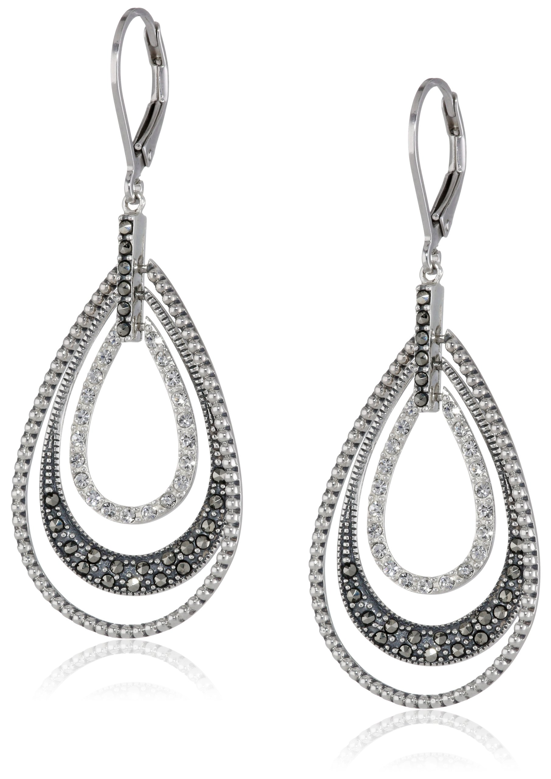 Judith Jack ''Classics'' Sterling Silver, Marcasite, Crystal Teardrop Lever Back Earrings