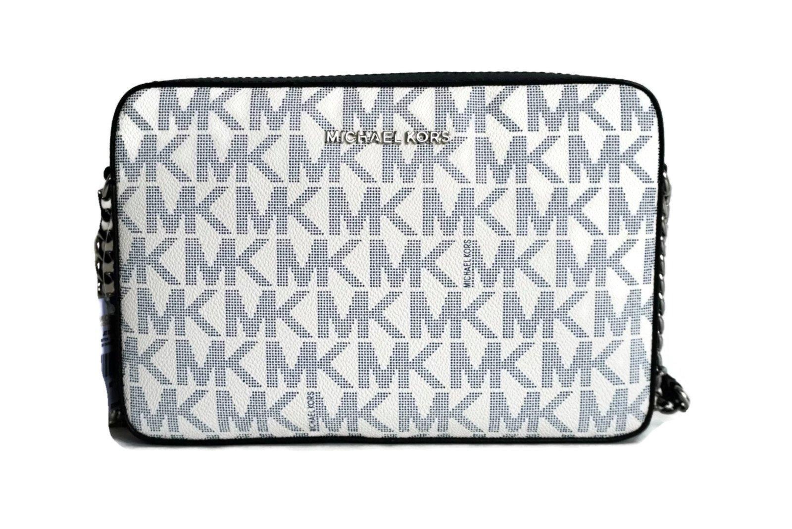 MICHAEL Michael Kors Jet Set Large East West Crossbody MK Signature Bag - Navy/White