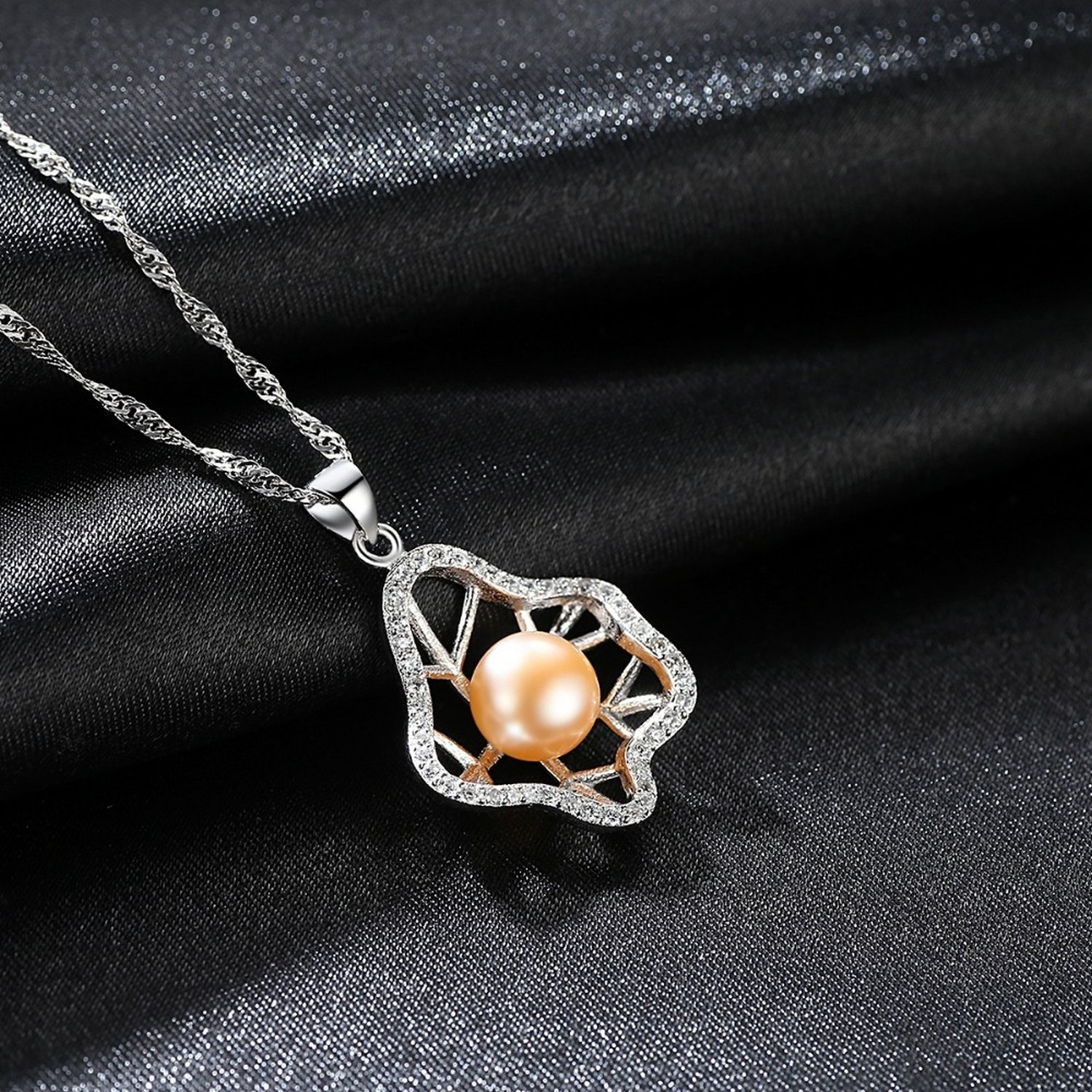 CS-DB Jewelry Silver Pearl Party Gift Chain Charm Pendants Necklaces