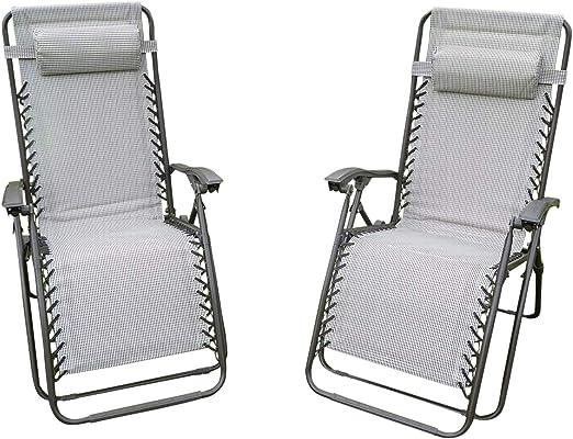 Silla de jardín - Juego de 2 acolchado Beige Sun hamacas reclinables - Textoline resistente a la intemperie: Amazon.es: Jardín