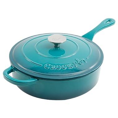 Crock Pot Artisan 3.5QT Enameled Cast Iron Deep Saute Pan w/ Lid, Teal