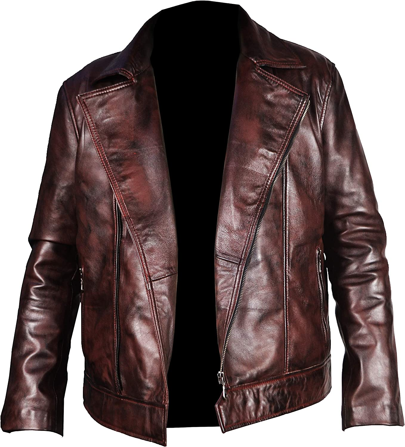 Maroon L Mens Deadshot Will Smith Suicide Squad Genuine Lambskin Jacket.