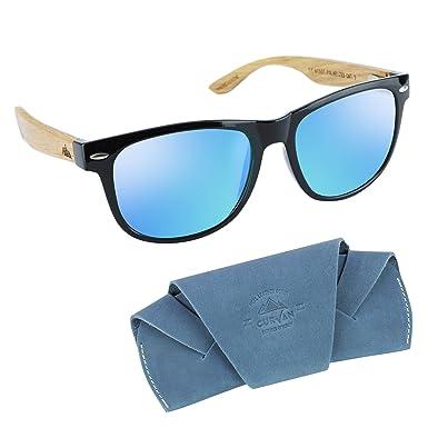 CURVAN - Gafas de Sol Polarizadas Hombre Mujer Unisex | Modelo Marley | 100% Protección UV400 | Lentes Espejo Antideslumbramiento | Patillas Madera ...