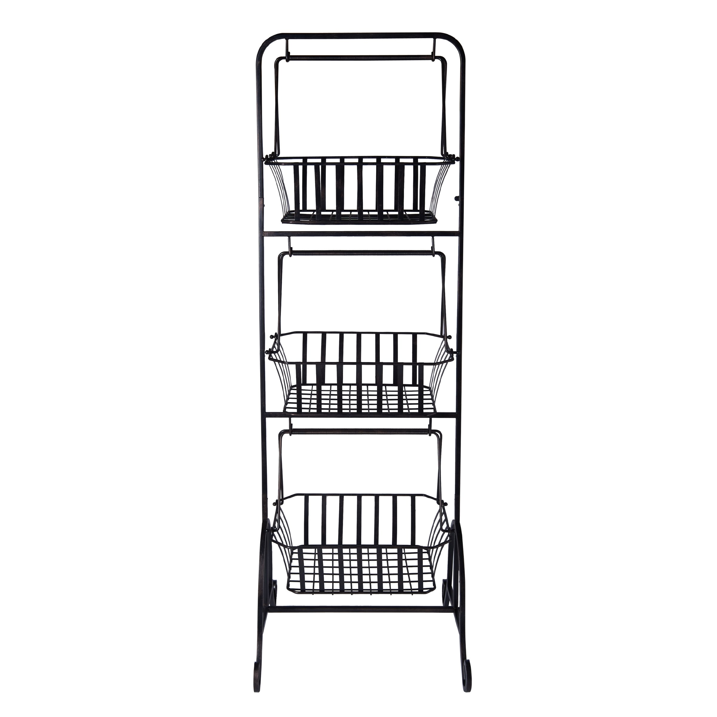 Gourmet Basics by Mikasa 5216453 Bristol 3-Tier Metal Fruit/Home Storage Basket, Floor Standing, Antique Black