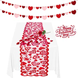 MALLMALL6 Valentine's Day Table Runner Love Hearts Banner Decorations Set Lace Dinner Tables Runners Linens Tablecloths Felt Hearts Garlands Room Decor for Wedding Engagement Anniversary Mother's Day