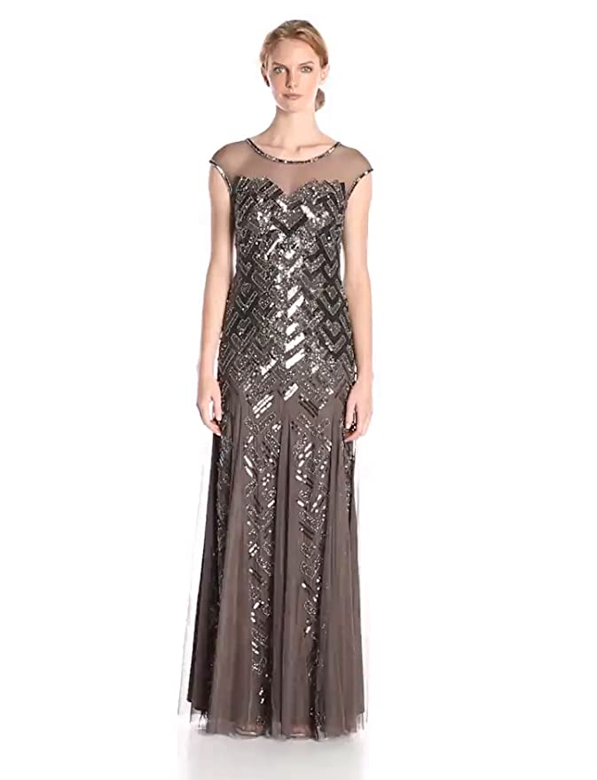Adrianna Papell Women\'s Cap Sleeve Illusion Neck Gown at Amazon ...