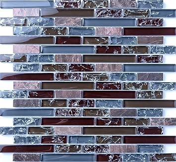 Qm Klare Und Gebrochener Glas Optik Und Stein Mosaik Fliesen Matte - Fliesen glasoptik