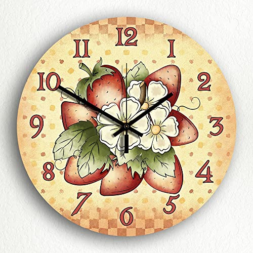 Classical Creations Strawberries Country Kitchen Motif 12 Silent Wall Clock