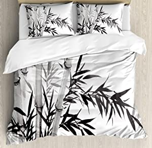 Ambesonne Bamboo Duvet Cover Set, Bamboo Tree Image Traditional Chinese Calligraphy Style Culture Theme, Decorative 3 Piece Bedding Set with 2 Pillow Shams, Queen Size, Grey Charcoal