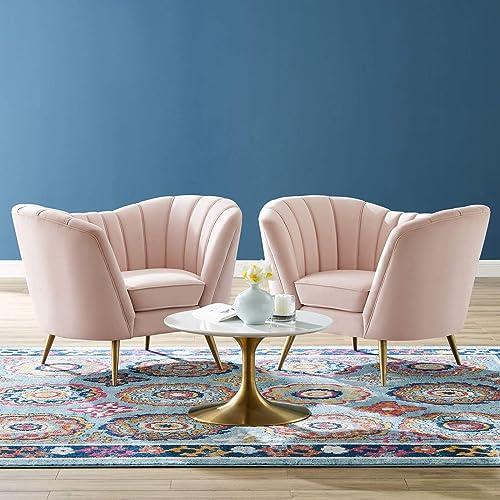 Modway Opportunity Performance Velvet Armchair Set of 2, Pink