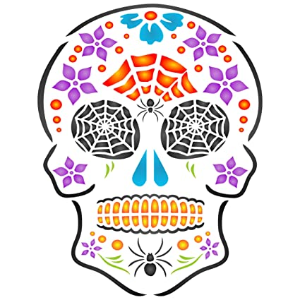 Halloween Sugar Skull Stencil Size 6 5 W X 8 5 H Reusable Wall Stencils For Painting Day Of The Dead Decor Ideas Use On Walls Floors Fabrics Glass Wood And More Amazon In