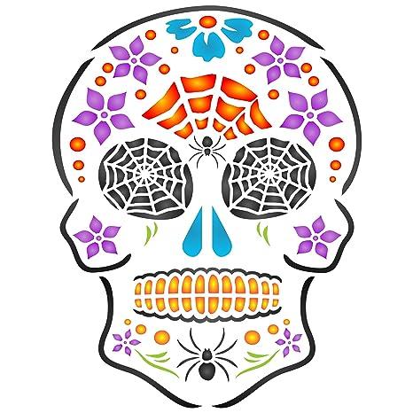 Halloween calavera plantilla – reutilizable de pared plantillas para pintar – día de los muertos decoración