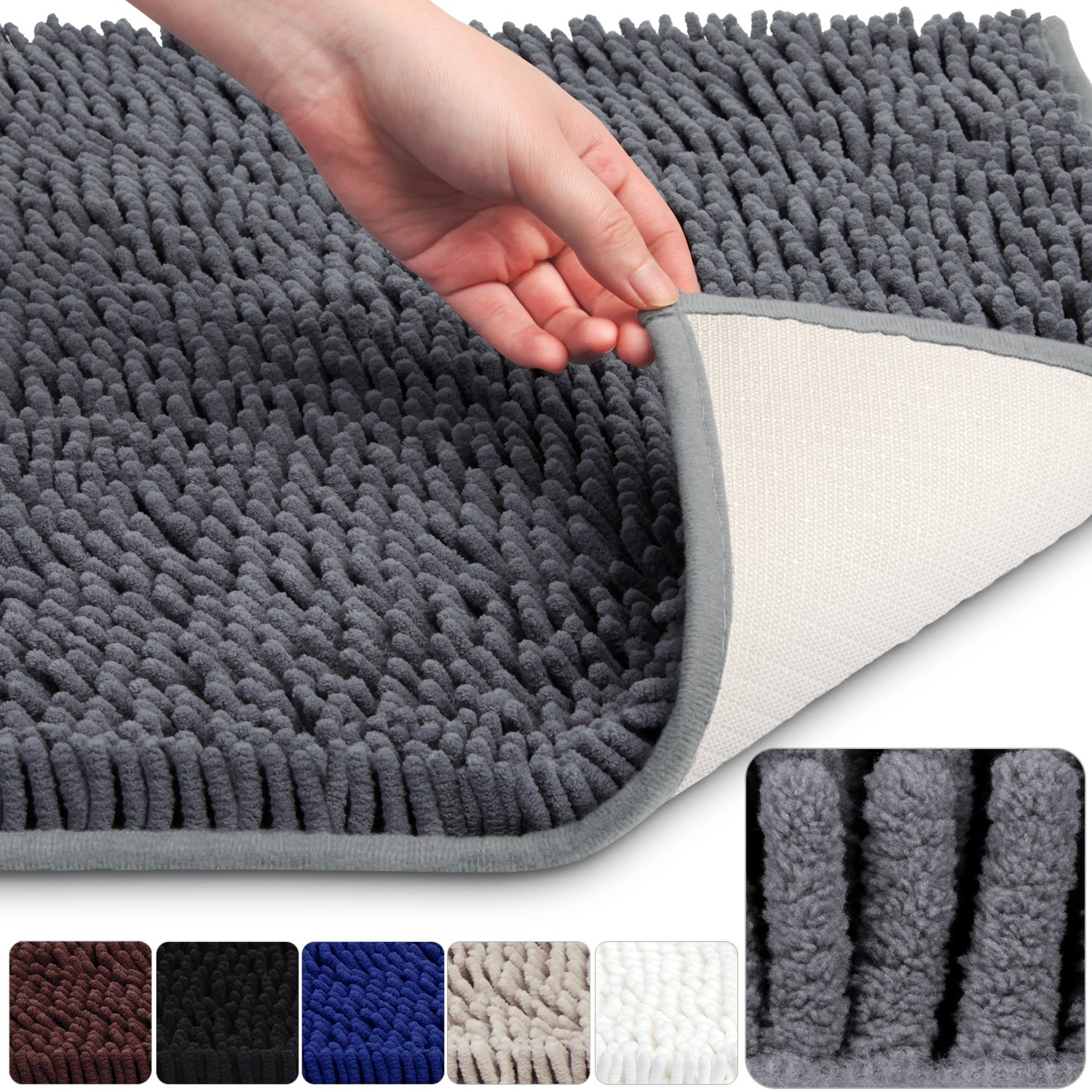 VDOMUS Soft Microfiber Shag Bath Rug, Extra Absorbent and Comfortable, Anti-slip,Machine-Washable Large Bathroom Mat, 32'' x 20'', Grey by VDOMUS