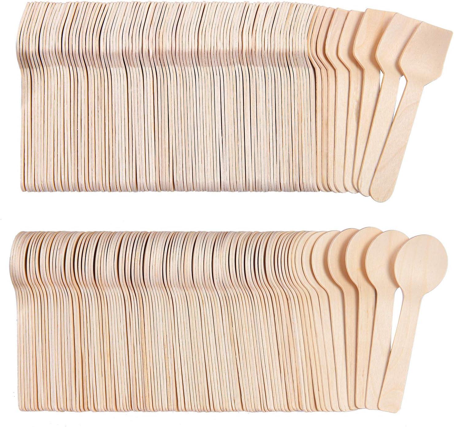 biod/égradables /év/énements et mariages /écologiques Tupa Lot de 200 mini cuill/ères en bois carr/ées et cuill/ères rondes jetables pour f/êtes