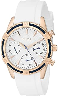 GUESS Womens U0562L1 Comfortable White Silicone Multi-Function Watch with Day, Date & 24