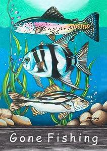 Toland Home Garden 1112108 Gone Fishing 12.5 x 18 Inch Decorative, Garden Flag (12.5
