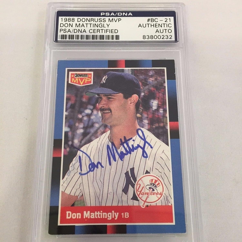 1988 Donruss MVP Don Mattingly Signed Autographed Baseball Card PSA DNA COA