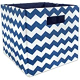 """DII Foldable Fabric Storage Container for Nurseries, Offices, Closets, Home Décor, Cube Organizer & Everyday Use, 11 x 11 x 11"""", Nautical Blue"""