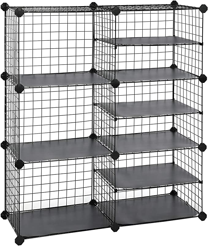 SONGMICS Cube Storage Unit, Interlocking Metal Wire Organizer with Divider Design, Modular Cabinet, Bookcase for Closet Bedroom Kid's Room, 32.7 L x 12.2 W x 36.6 H Inches, Black ULPI36H best closet shelving system