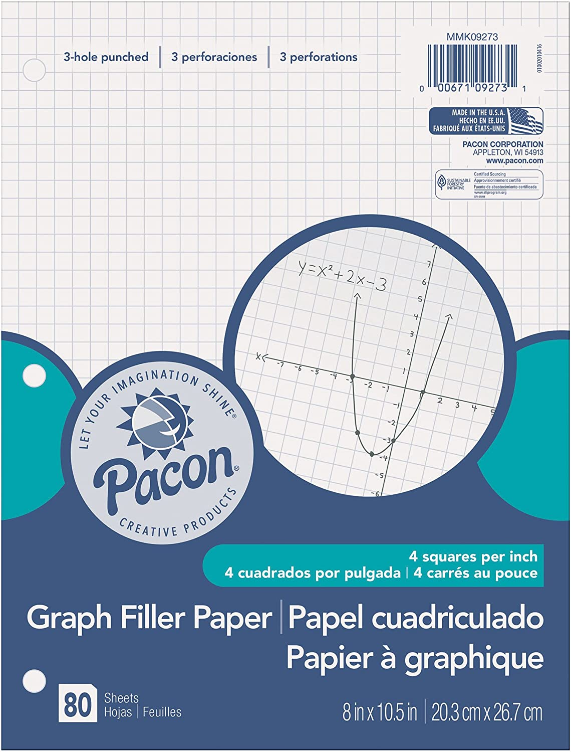 Pacon Filler Paper, White, 3-Hole Punched, 1/4