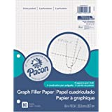 """Pacon Filler Paper, White, 3-Hole Punched, 1/4"""" Grid Ruled 8"""" x 10-1/2"""", 80 Sheets"""