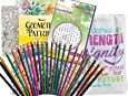 Get Well Soon Gift for Women - 2 Adult Coloring Books, Colored Pencils (24), Color-Your-Own Bookmark, Sharpener, Chicken Soup for the Soul Word Find and Inspirational Tote (7 piece bundle)