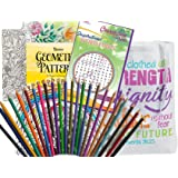 Get Well Soon Gift for Women - 2 Adult Coloring Books, Colored Pencils (24), Color-Your-Own Bookmark, Sharpener, Chicken…
