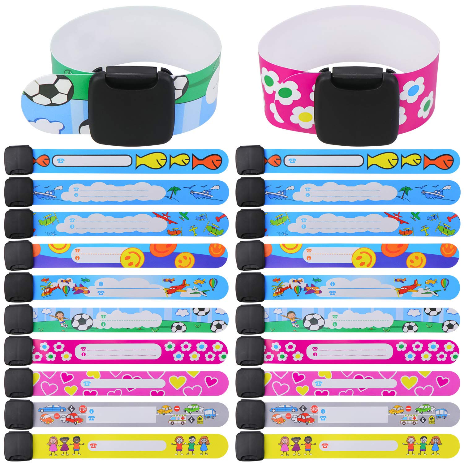 DireeKids Child ID Bands 12 Pack Never Fade ID Wristband for Kids Safety Name a