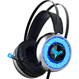 Led Gaming Headset with Microphone – Surround Sound Stereo Wired Gamer Headphones for PC, PS4, PS3, Xbox, Nintendo Switch – N