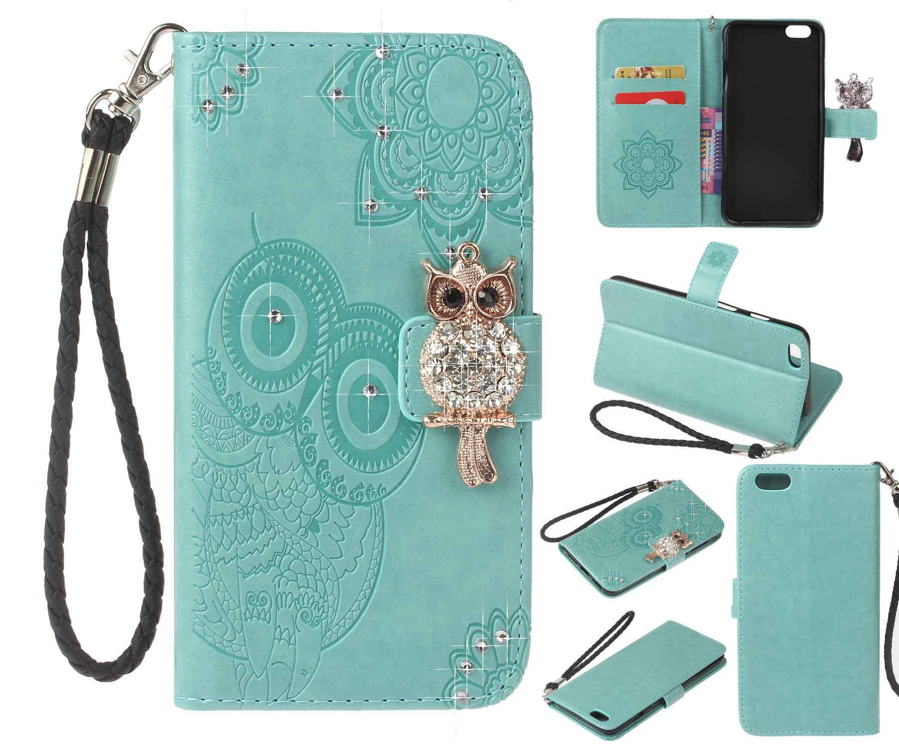 Amocase Wallet Case with 2 in 1 Stylus for iPhone 6s,3D Bling Gems Owl Magnetic Mandala Embossing Premium Strap PU Leather Card Slot Stand Case for iPhone 6/6s 4.7 inch - Mint Green by Amocase
