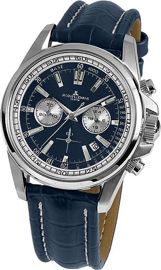 9fb672e448c5 Jacques Lemans Reloj Cronógrafo para Hombre de Cuarzo con Correa en Cuero 1-1117.1VN   Amazon.es  Relojes