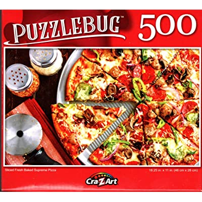 Sliced Fresh Baked Supreme Pizza - 500 Pieces Jigsaw Puzzle - p015: Toys & Games