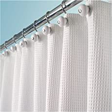 MDesign Long Hotel Quality Polyester Cotton Blend Fabric Shower Curtain Rustproof Metal Grommets