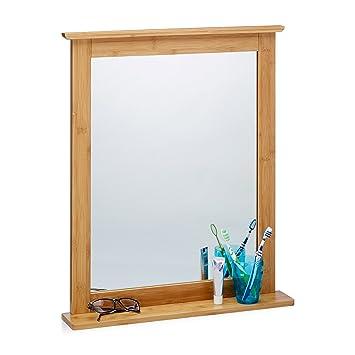 Relaxdays Wandspiegel Bambus, Badspiegel mit Ablage, Spiegel zum ...