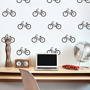 "Set of 20 Vinyl Wall Art Decal - Bicycle Patterns - 3"" x 5"" Each - Stencil Adhesive Vinyl for Home Apartment Workplace Use - Cool Simple Shapes for Living Room Bedroom Decor (3"" x 5"" Each, Black)"