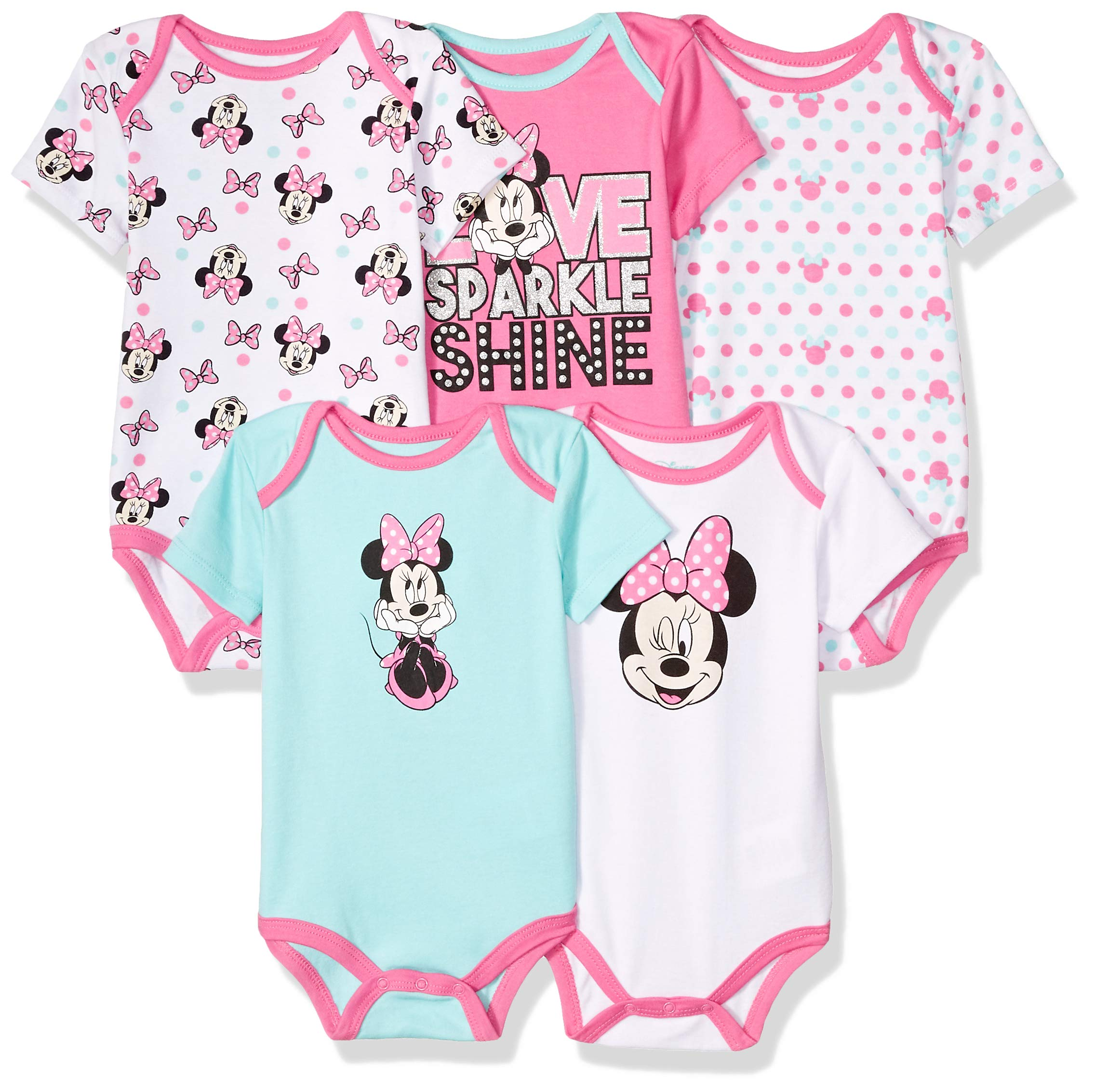 Disney baby-girls Minnie Mouse 5 Pack Bodysuits