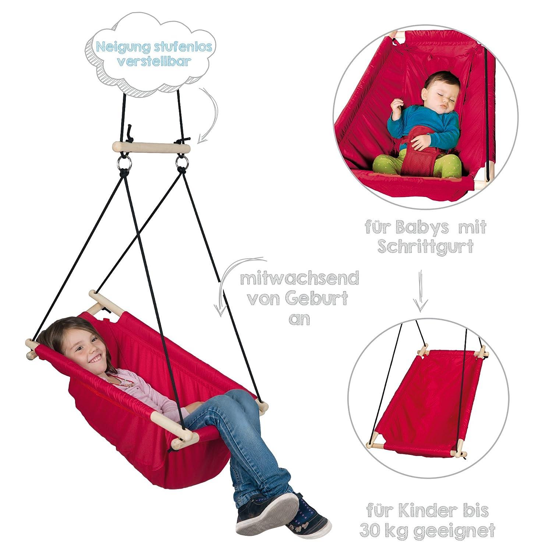 Asiento colgador en loneta rojo columpio hamaca y asiento para bebes y ni/ños utilizable desde el nacimiento hasta los 6 a/ños o 30kg