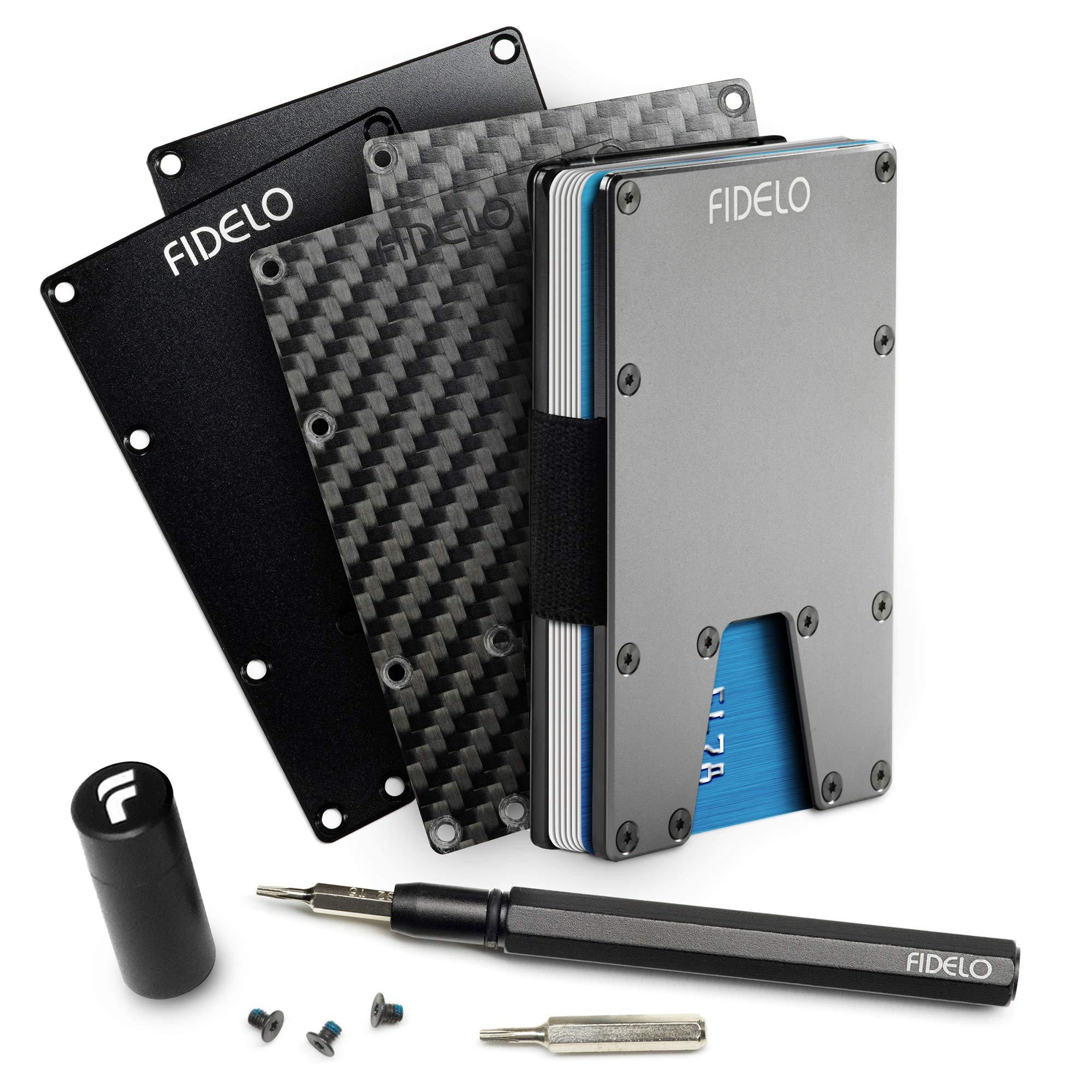 FIDELO Minimalist Wallet For Men - Slim RFID Credit Card Holder Money Clip by FIDELO