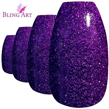 Bling Art Uñas Postizas Púrpura Gel Bailarina 24 Ataúd Longe ...