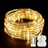 Fitybow LED Rope Lights Battery Operated String Lights 40Ft 120 LEDs 8 Modes Hanging Fairy Lights Dimmable/Timer with Remote