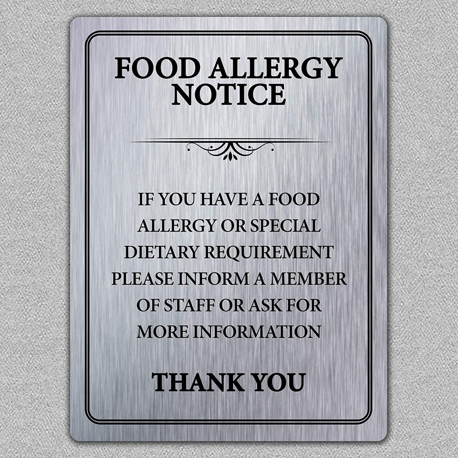 Food Allergy Safety Notice Tin Sign Metal Sign TIN Sign 7.8X11.8 INCH