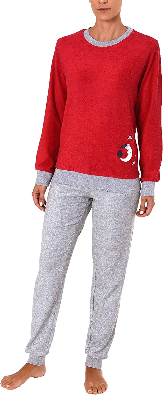 RELAX by Normann Kuscheliger Frottee Pyjama f/ür Damen mit B/ündchen und geringelten Oberteil 291 13 772